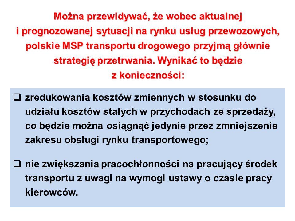 Można przewidywać, że wobec aktualnej i prognozowanej sytuacji na rynku usług przewozowych, polskie MSP transportu drogowego przyjmą głównie strategię przetrwania. Wynikać to będzie z konieczności: