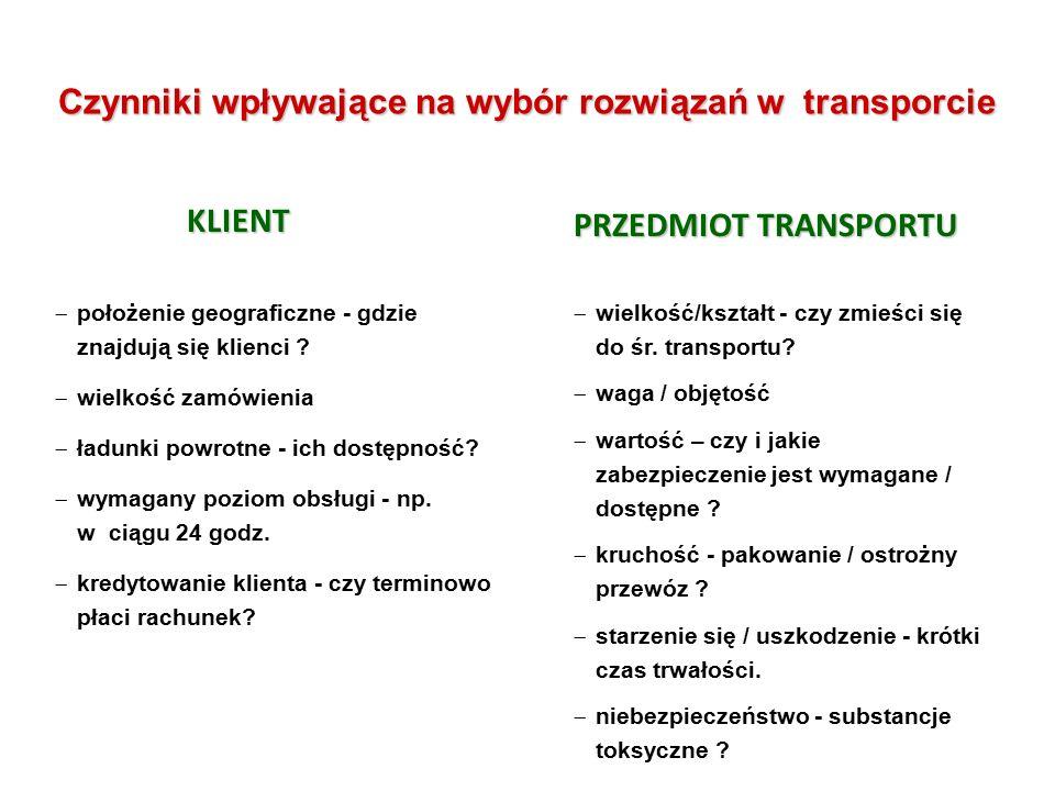 Czynniki wpływające na wybór rozwiązań w transporcie