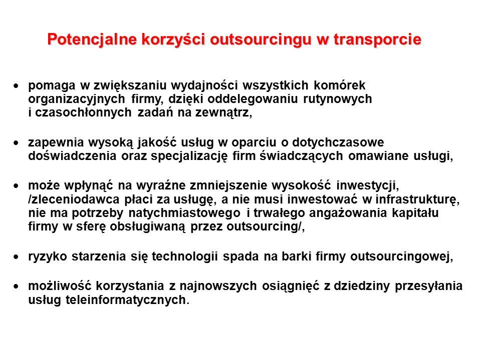Potencjalne korzyści outsourcingu w transporcie