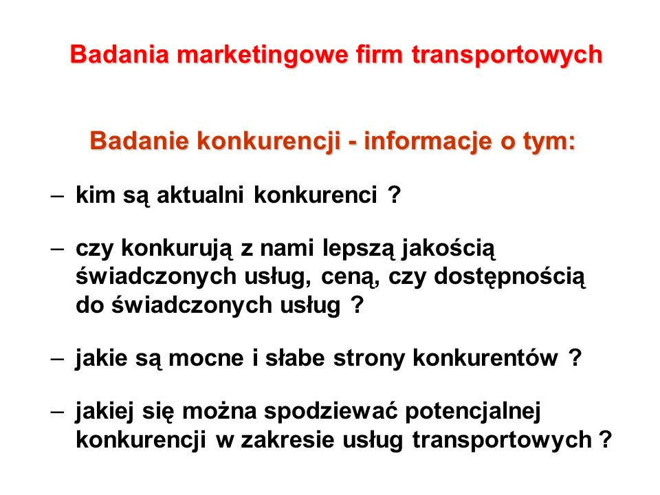 Badania marketingowe firm transportowych