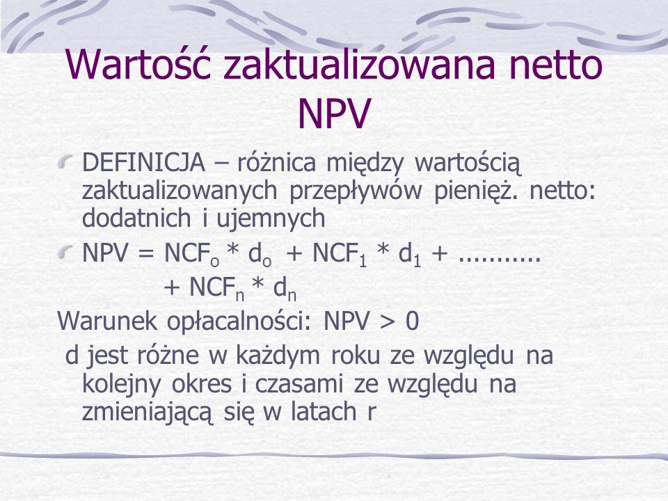Wartość zaktualizowana netto NPV