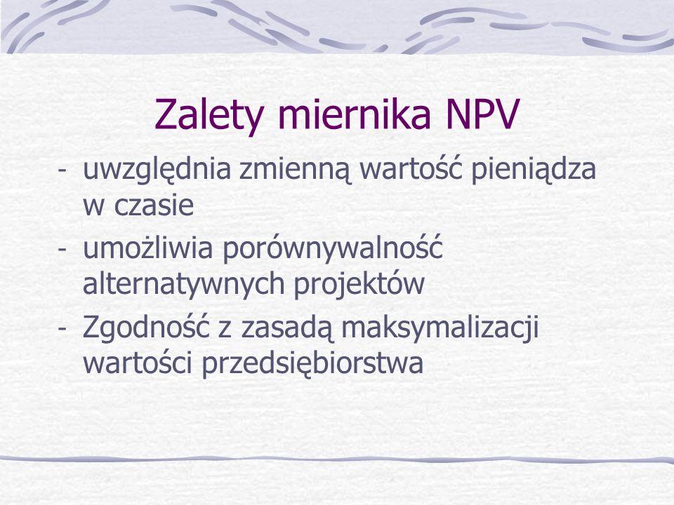 Zalety miernika NPV uwzględnia zmienną wartość pieniądza w czasie