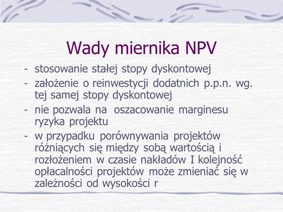 Wady miernika NPV stosowanie stałej stopy dyskontowej