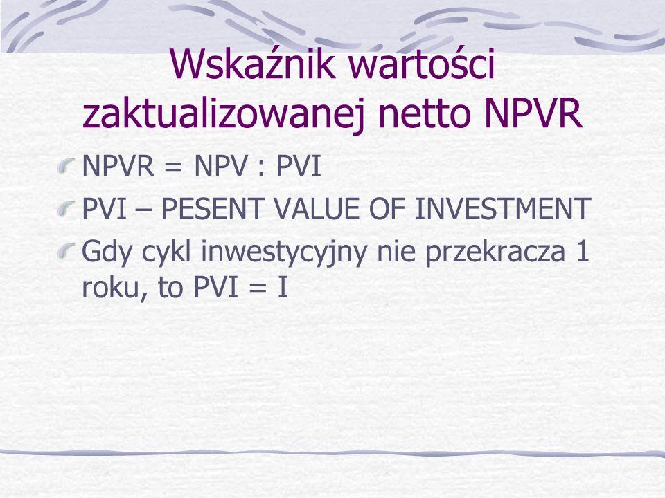 Wskaźnik wartości zaktualizowanej netto NPVR