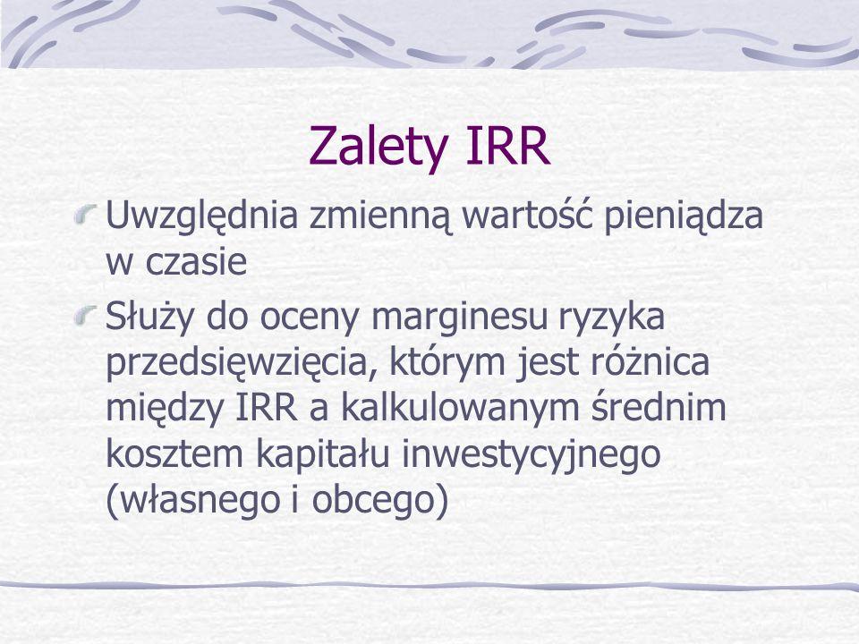 Zalety IRR Uwzględnia zmienną wartość pieniądza w czasie