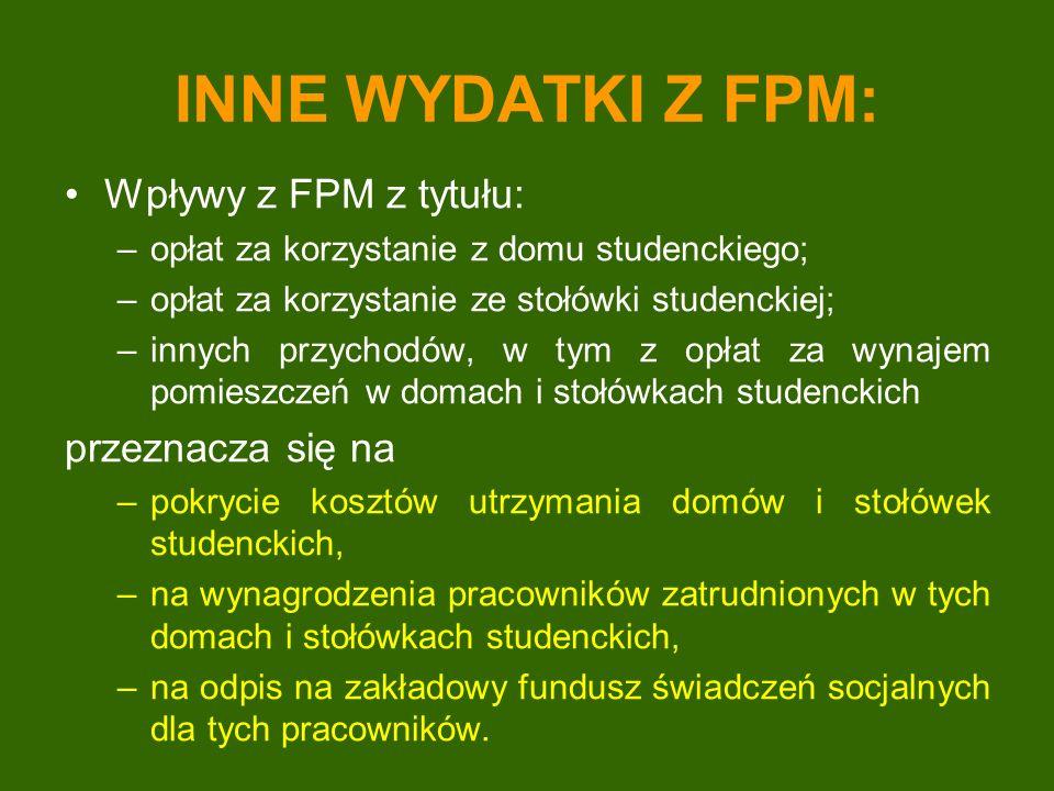 INNE WYDATKI Z FPM: Wpływy z FPM z tytułu: przeznacza się na