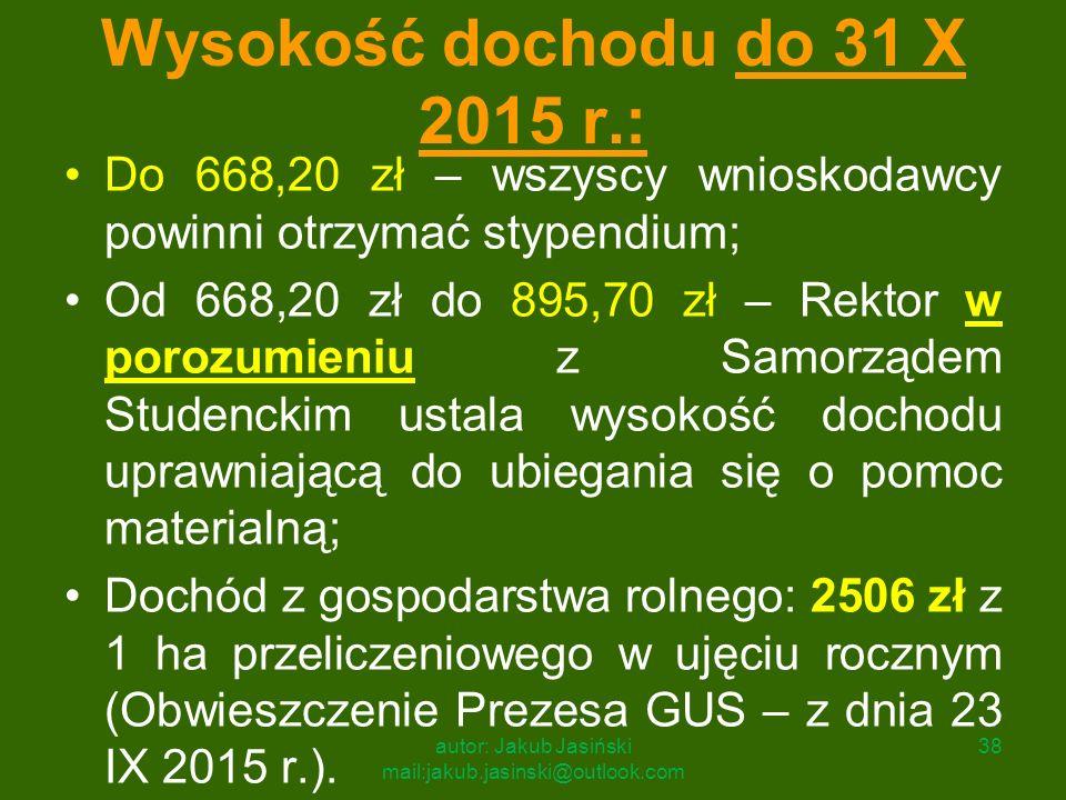 Wysokość dochodu do 31 X 2015 r.: