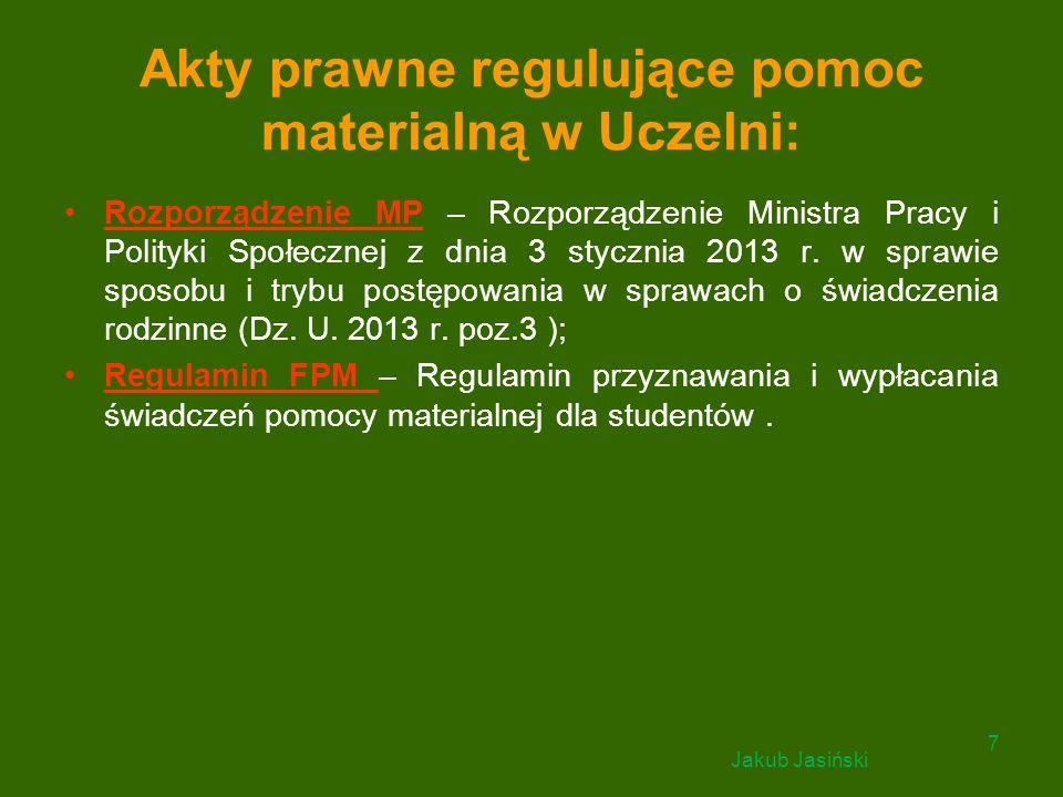 Akty prawne regulujące pomoc materialną w Uczelni: