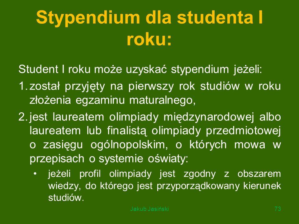 Stypendium dla studenta I roku: