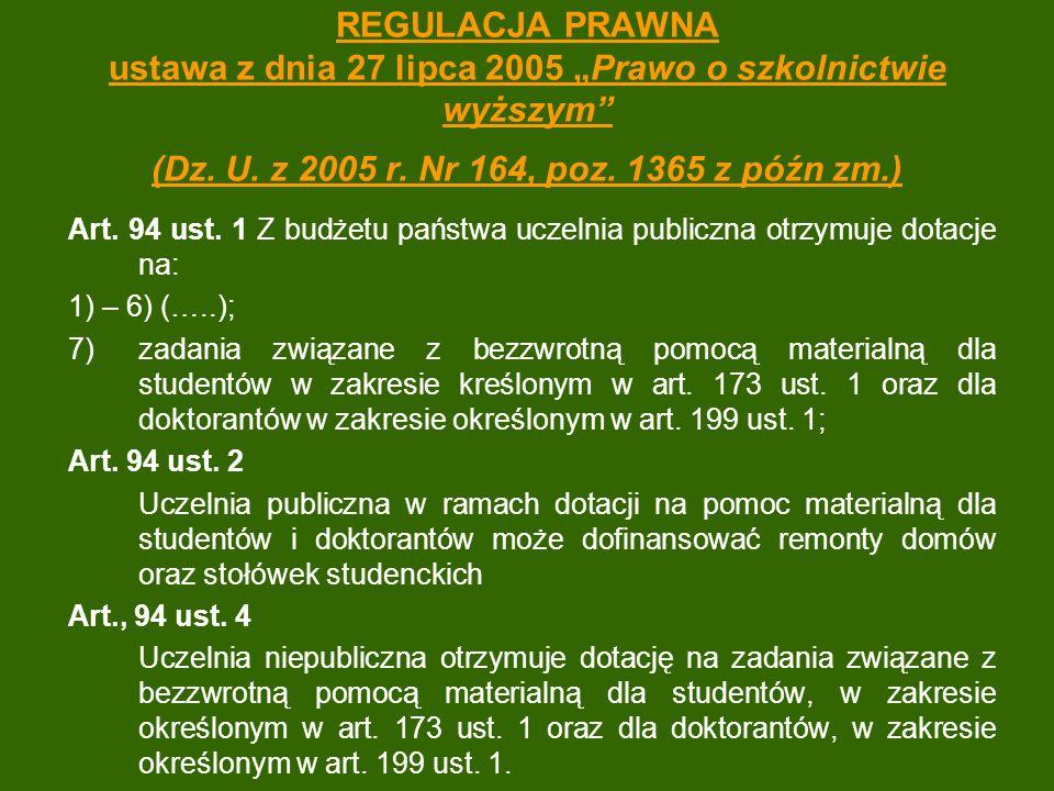 """REGULACJA PRAWNA ustawa z dnia 27 lipca 2005 """"Prawo o szkolnictwie wyższym (Dz. U. z 2005 r. Nr 164, poz. 1365 z późn zm.)"""