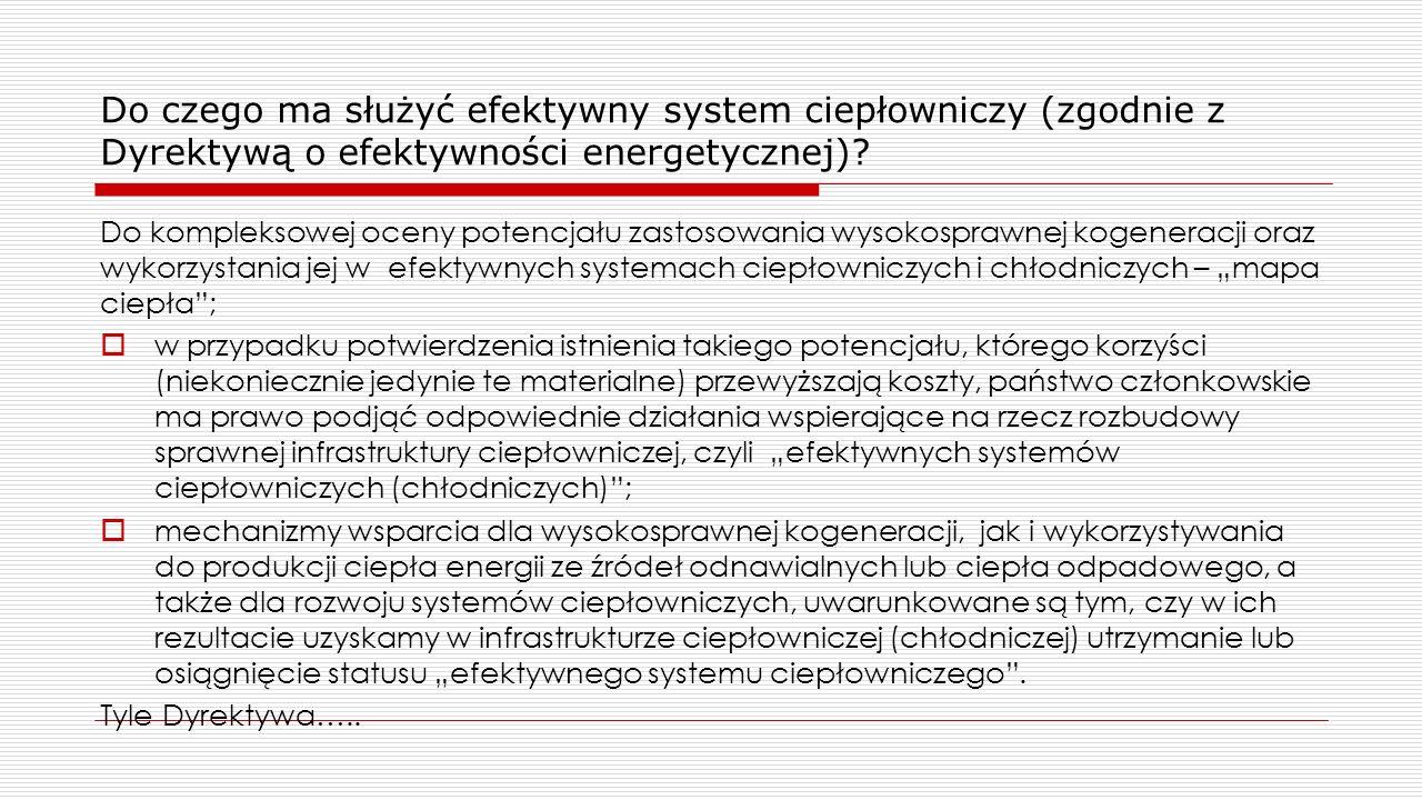Do czego ma służyć efektywny system ciepłowniczy (zgodnie z Dyrektywą o efektywności energetycznej)