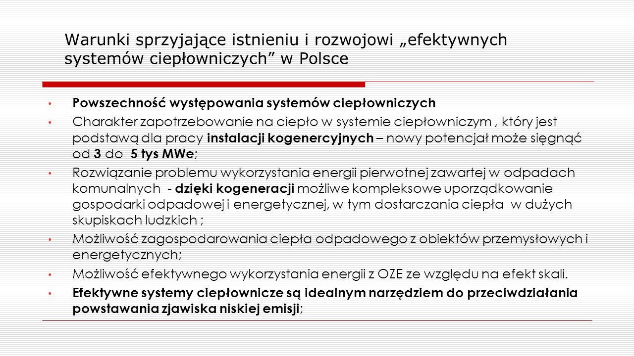 """Warunki sprzyjające istnieniu i rozwojowi """"efektywnych systemów ciepłowniczych w Polsce"""