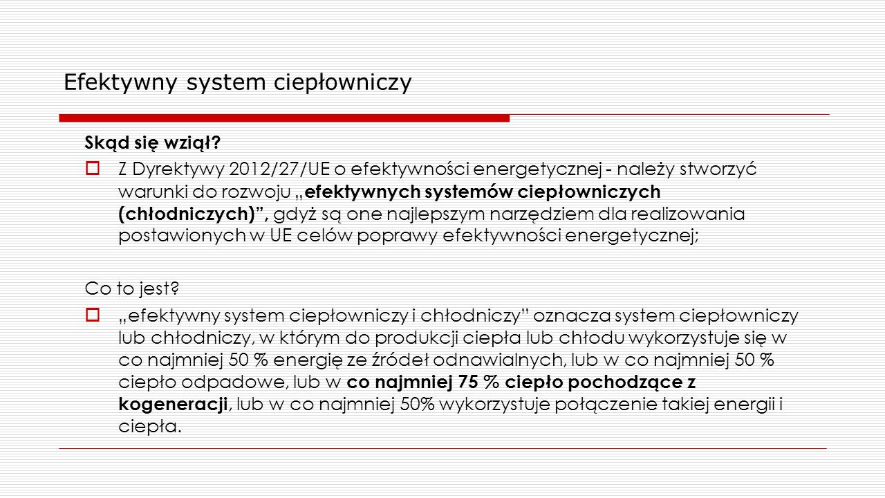 Efektywny system ciepłowniczy