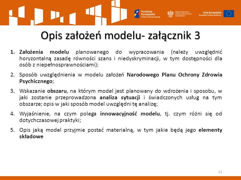 Opis założeń modelu- załącznik 3