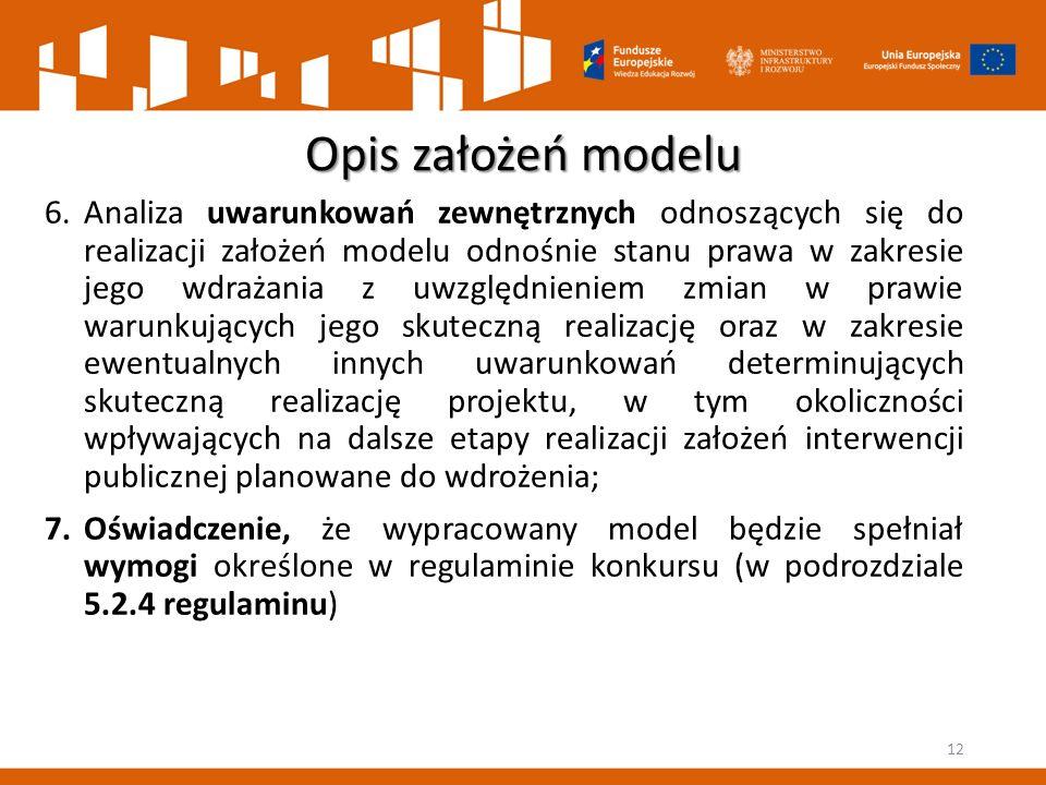 Opis założeń modelu