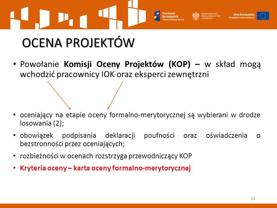 OCENA PROJEKTÓW Powołanie Komisji Oceny Projektów (KOP) – w skład mogą wchodzić pracownicy IOK oraz eksperci zewnętrzni.