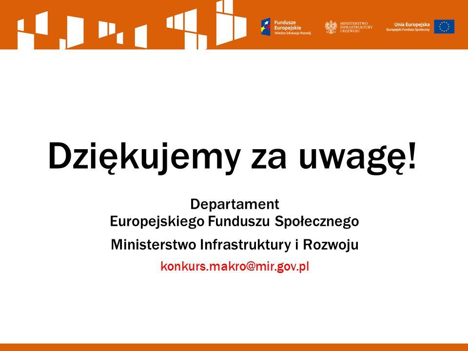 Dziękujemy za uwagę! Departament Europejskiego Funduszu Społecznego