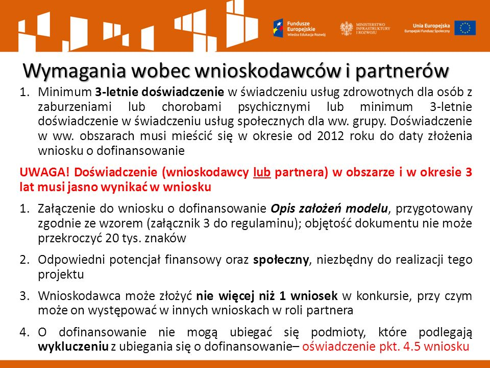 Wymagania wobec wnioskodawców i partnerów