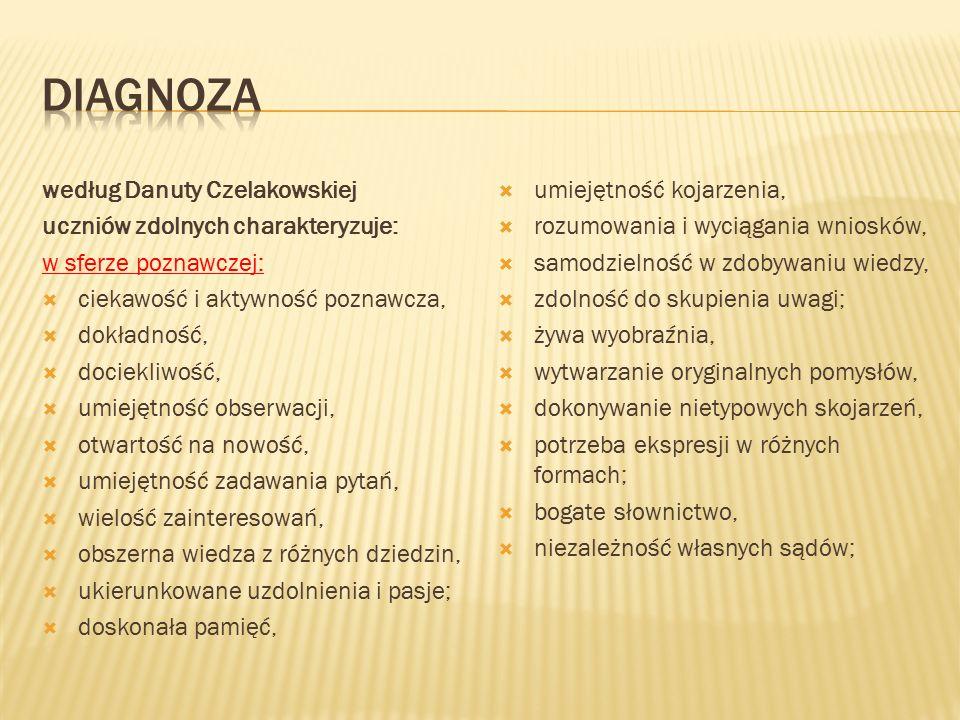 DIAGNOZA według Danuty Czelakowskiej uczniów zdolnych charakteryzuje: