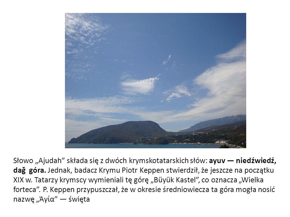 """Słowo """"Ajudah składa się z dwóch krymskotatarskich słów: ayuv — niedźwiedź, dağ góra."""