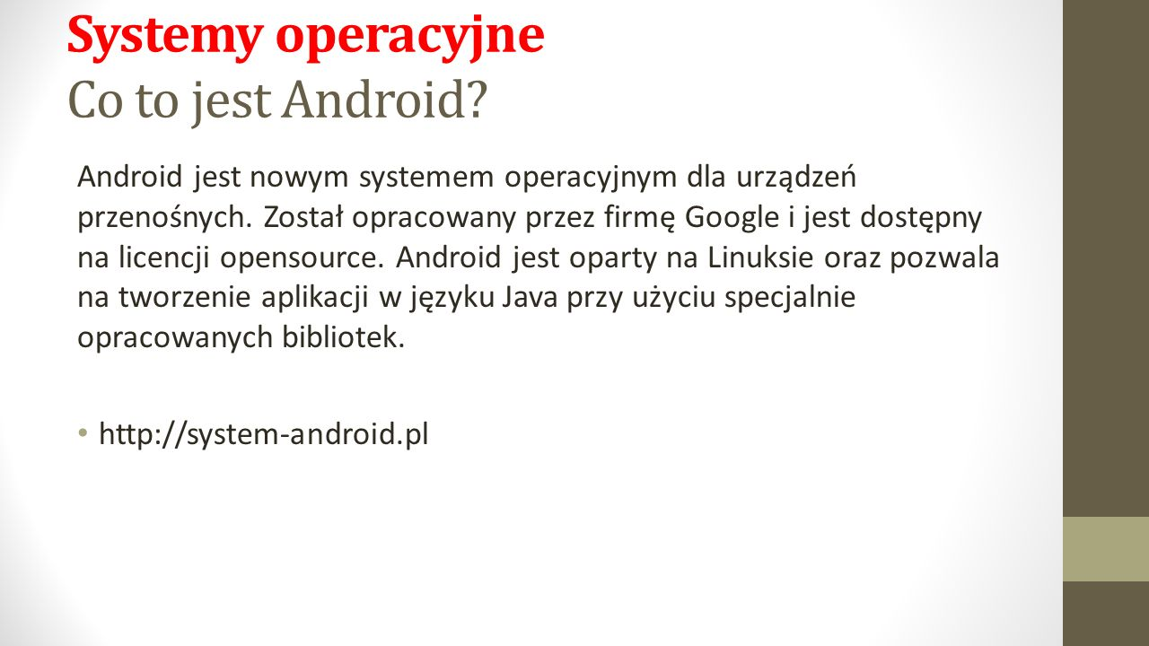 Systemy operacyjne Co to jest Android