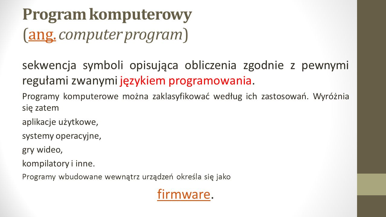 Program komputerowy (ang. computer program)