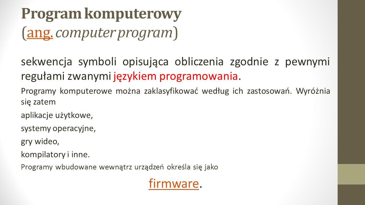Program komputerowy (ang. computer program)