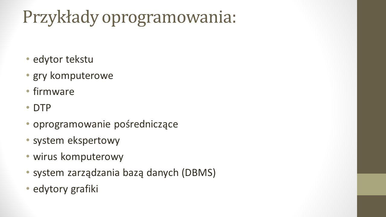 Przykłady oprogramowania:
