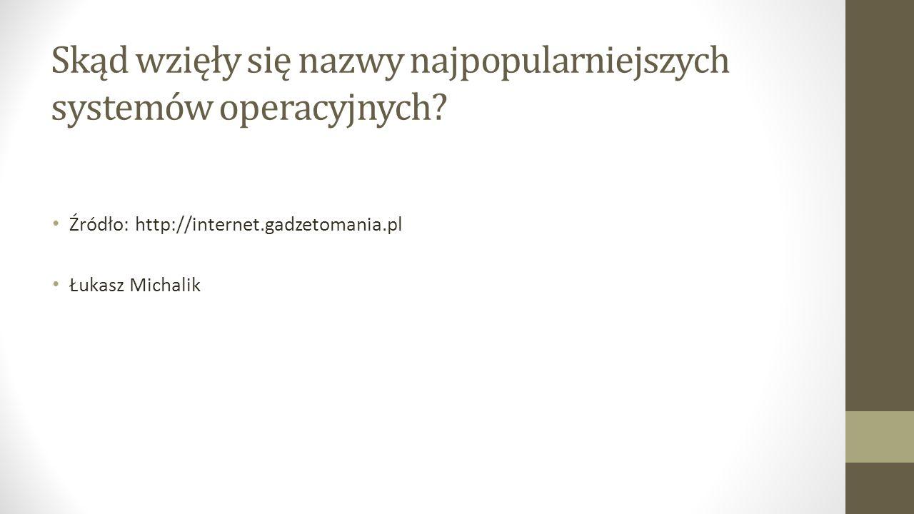 Skąd wzięły się nazwy najpopularniejszych systemów operacyjnych