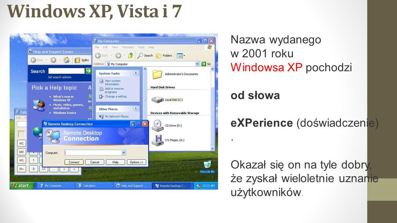 Windows XP, Vista i 7 Nazwa wydanego w 2001 roku Windowsa XP pochodzi
