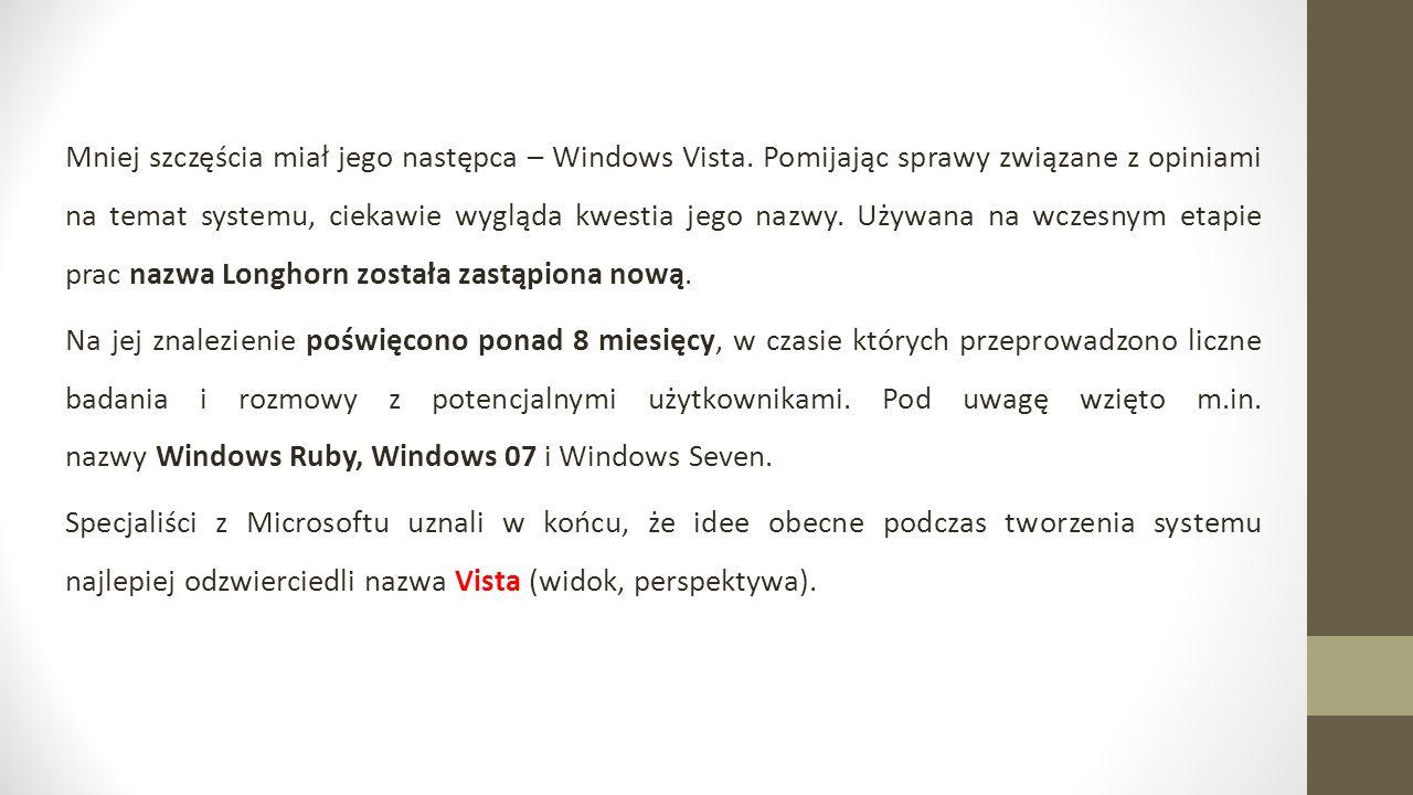 Mniej szczęścia miał jego następca – Windows Vista