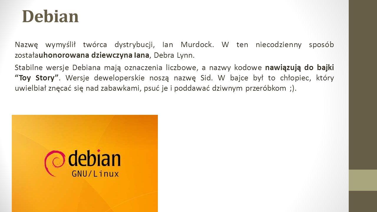 Debian Nazwę wymyślił twórca dystrybucji, Ian Murdock. W ten niecodzienny sposób zostałauhonorowana dziewczyna Iana, Debra Lynn.