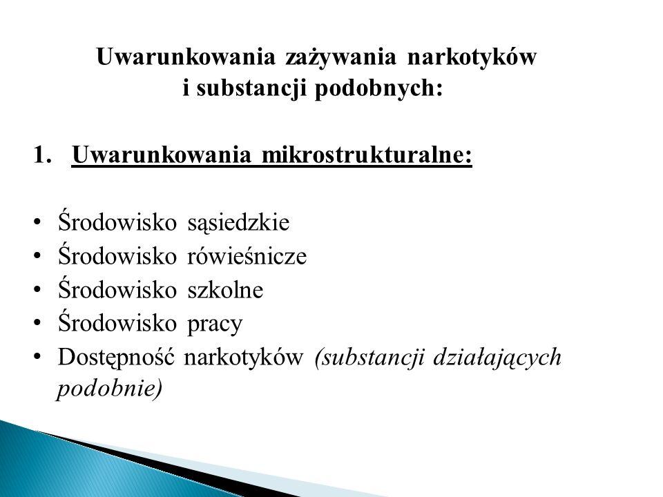 Uwarunkowania zażywania narkotyków i substancji podobnych: