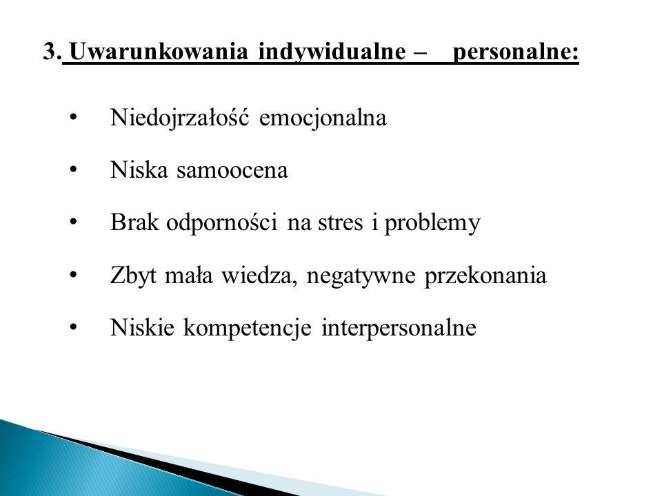 3. Uwarunkowania indywidualne – personalne: