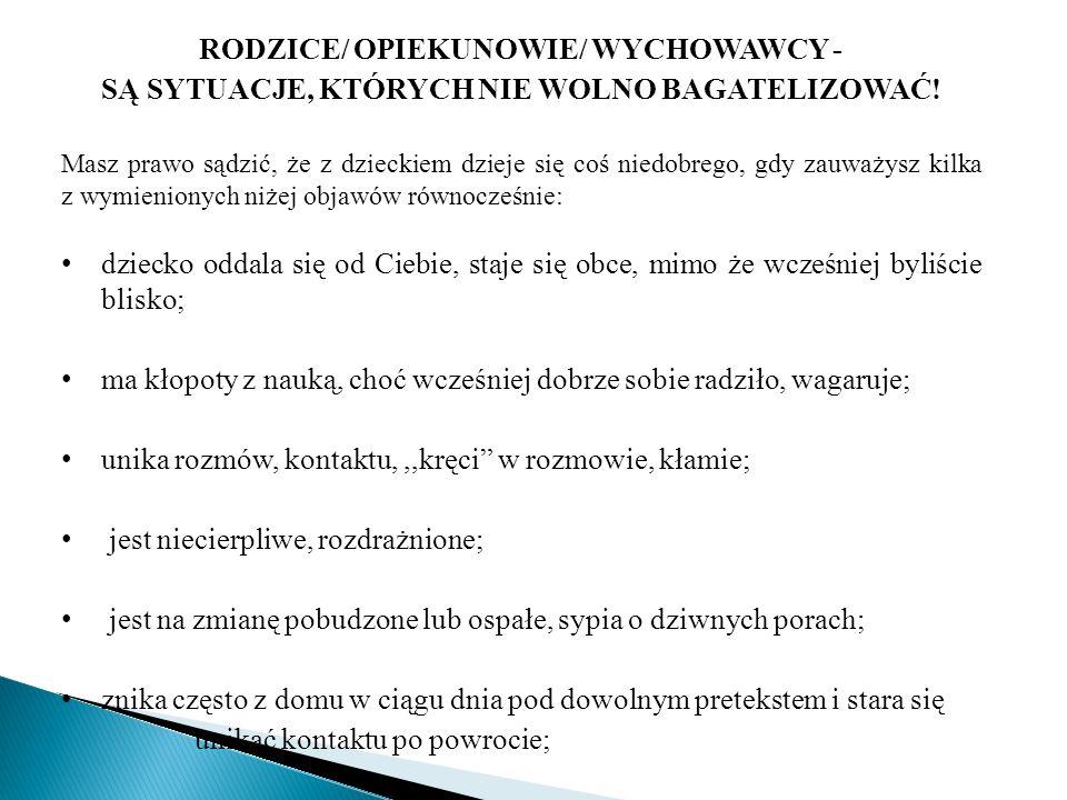 RODZICE/ OPIEKUNOWIE/ WYCHOWAWCY -