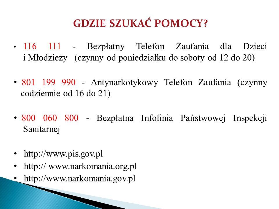 GDZIE SZUKAĆ POMOCY 116 111 - Bezpłatny Telefon Zaufania dla Dzieci i Młodzieży (czynny od poniedziałku do soboty od 12 do 20)