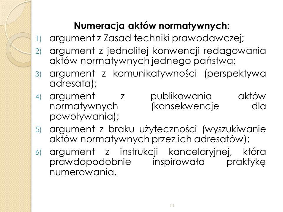 Numeracja aktów normatywnych: