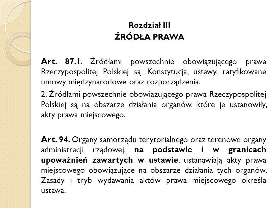 Rozdział III ŹRÓDŁA PRAWA.