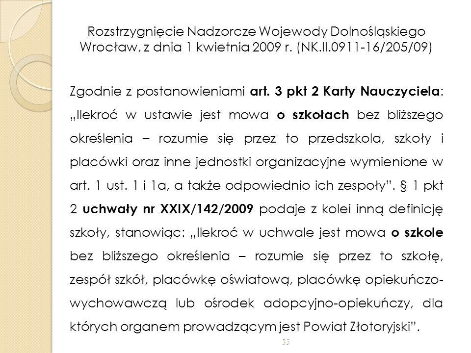 Rozstrzygnięcie Nadzorcze Wojewody Dolnośląskiego Wrocław, z dnia 1 kwietnia 2009 r.