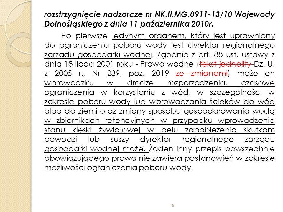 rozstrzygnięcie nadzorcze nr NK. II. MG