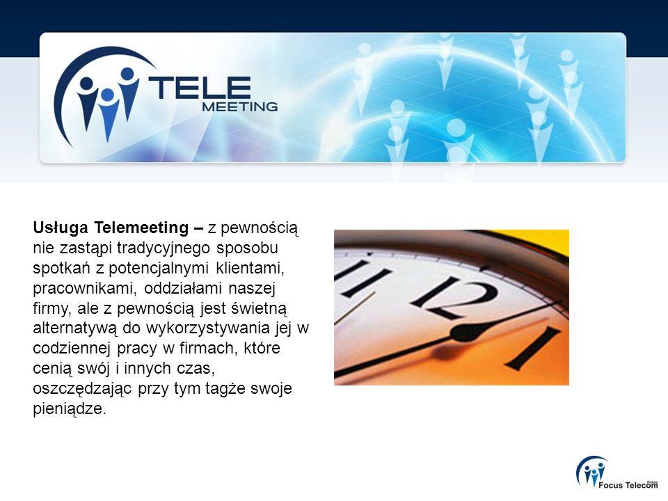 Usługa Telemeeting – z pewnością nie zastąpi tradycyjnego sposobu spotkań z potencjalnymi klientami, pracownikami, oddziałami naszej firmy, ale z pewnością jest świetną alternatywą do wykorzystywania jej w codziennej pracy w firmach, które cenią swój i innych czas, oszczędzając przy tym tagże swoje pieniądze.