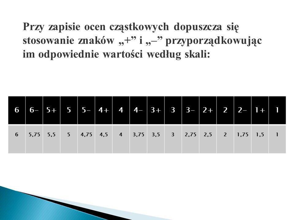 """Przy zapisie ocen cząstkowych dopuszcza się stosowanie znaków """"+ i """"– przyporządkowując im odpowiednie wartości według skali:"""