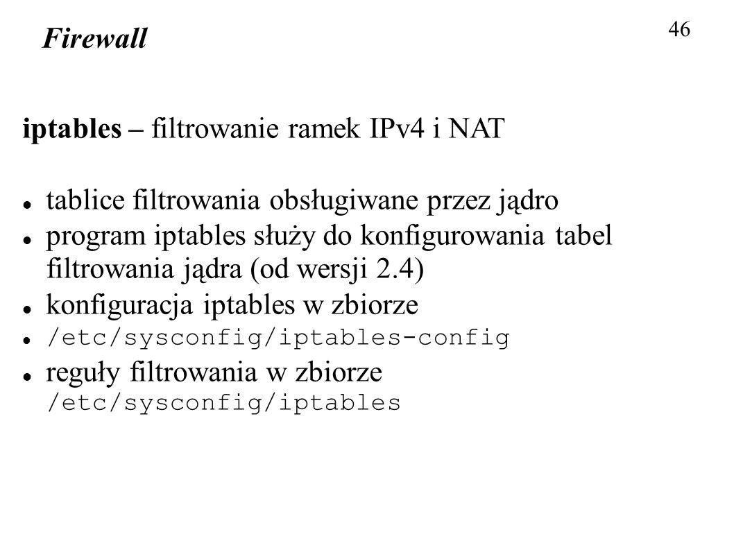 iptables – filtrowanie ramek IPv4 i NAT
