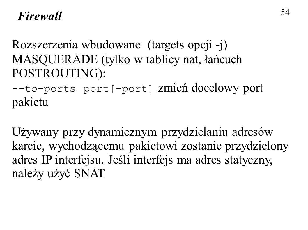 Rozszerzenia wbudowane (targets opcji -j)