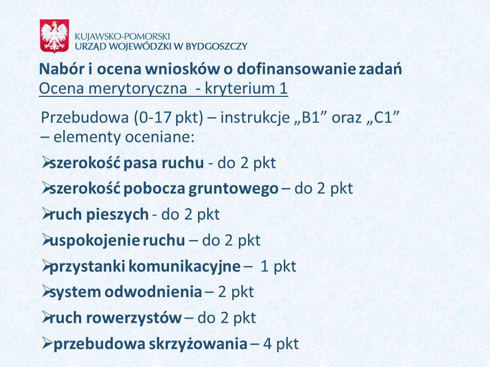 """Przebudowa (0-17 pkt) – instrukcje """"B1 oraz """"C1 – elementy oceniane:"""