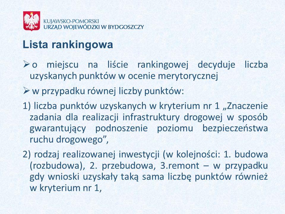 Lista rankingowa o miejscu na liście rankingowej decyduje liczba uzyskanych punktów w ocenie merytorycznej.