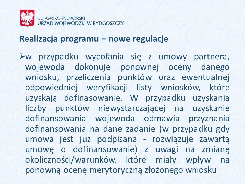 Realizacja programu – nowe regulacje