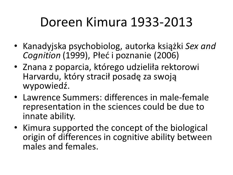 Doreen Kimura 1933-2013 Kanadyjska psychobiolog, autorka książki Sex and Cognition (1999), Płeć i poznanie (2006)