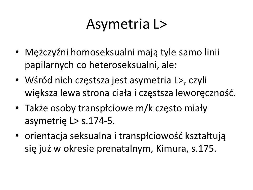 Asymetria L> Mężczyźni homoseksualni mają tyle samo linii papilarnych co heteroseksualni, ale: