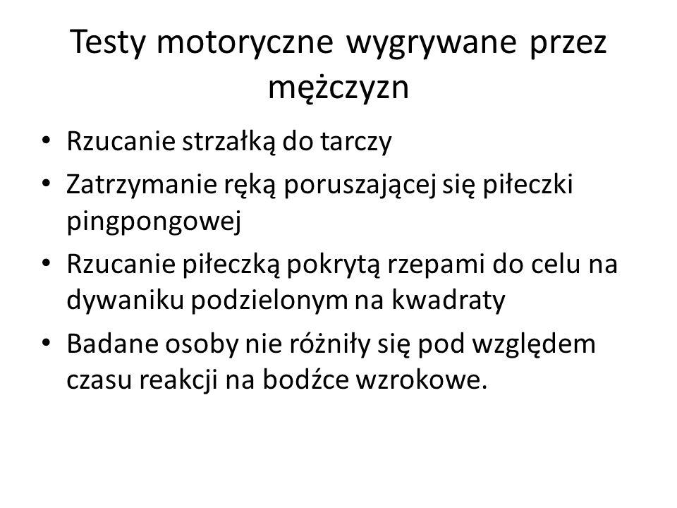 Testy motoryczne wygrywane przez mężczyzn